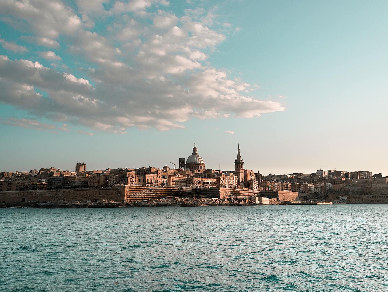 Valletta, Malta viewed from the Mediterranean Sea