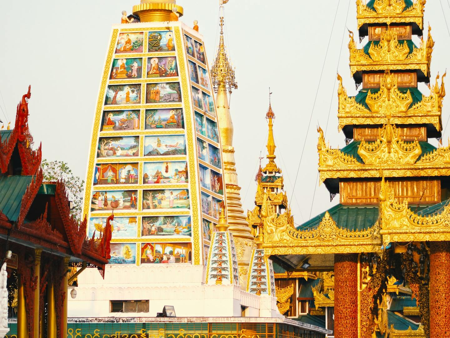 The colourful temples in Yangon, Myanmar