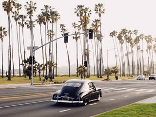 A classic car on the waterfront in Santa Barbara, California