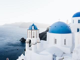 The iconic blue domes of Santorini Island, Greece