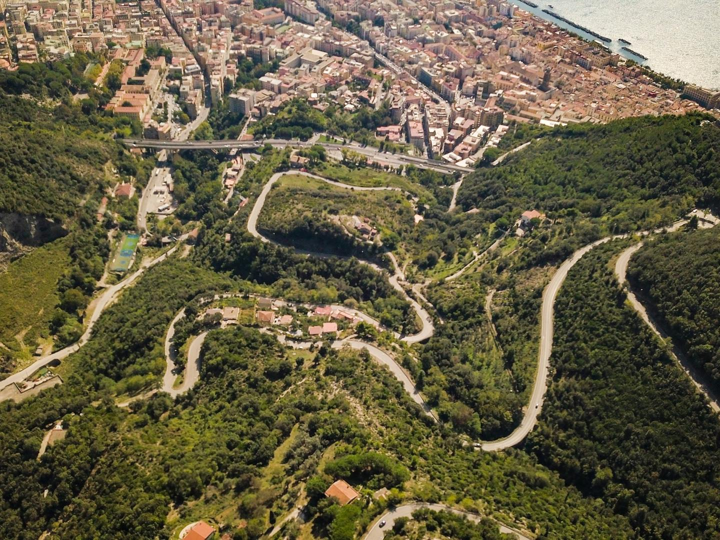 A winding road down to Salerno, Italy