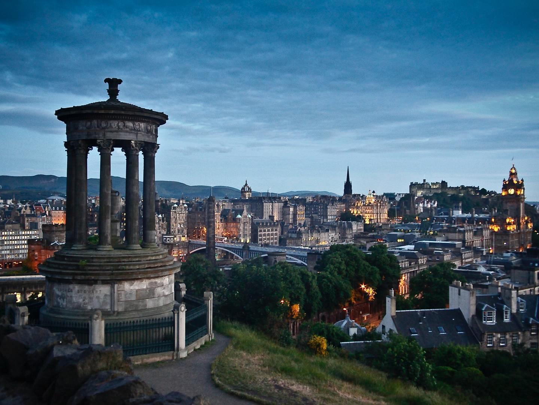 Carlton Hill and Edinburgh at sunset