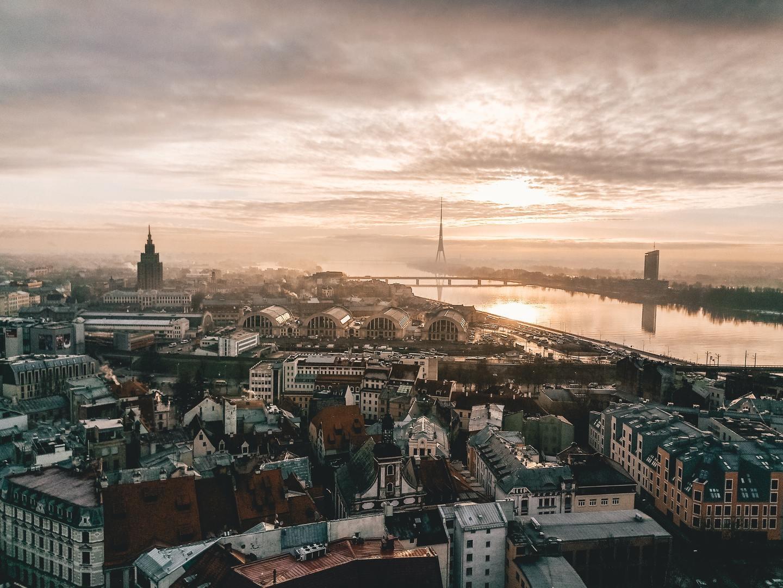 The city of Riga, Latvia from above