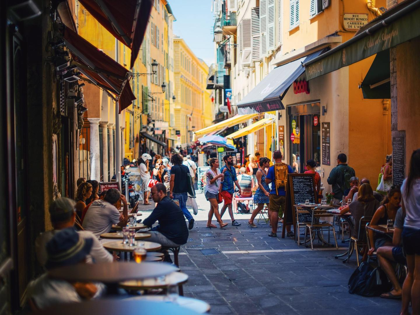 A bustling street in Nice, France