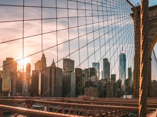 A view of Manhattan, New York City from the Brooklyn Bridge