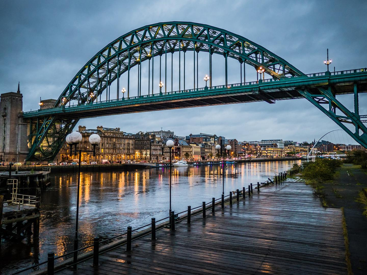 View of Newcastle Upon Tyne and the Tyne Bridge from the Quay