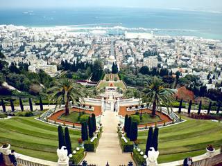 A view over the Bahá'í gardens and the Shrine of the Báb in Haifa, Israel