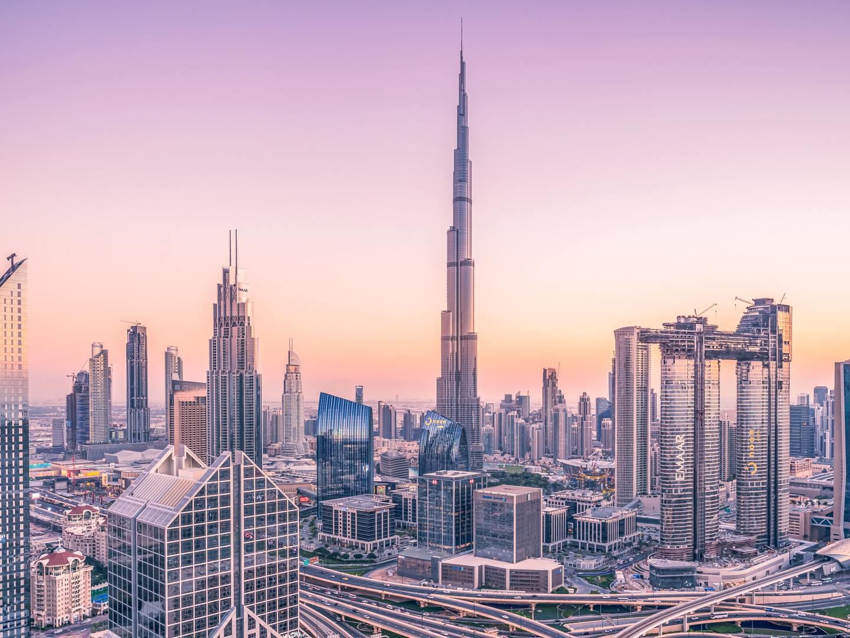 Sunset over the Dubai skyline