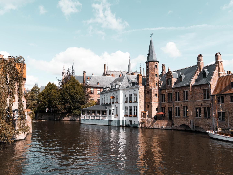 Riverside view in Bruges, Belgium