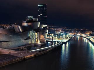 Nighttime view of Bilbao, Spain