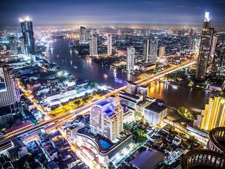 The Bangkok skyline at night