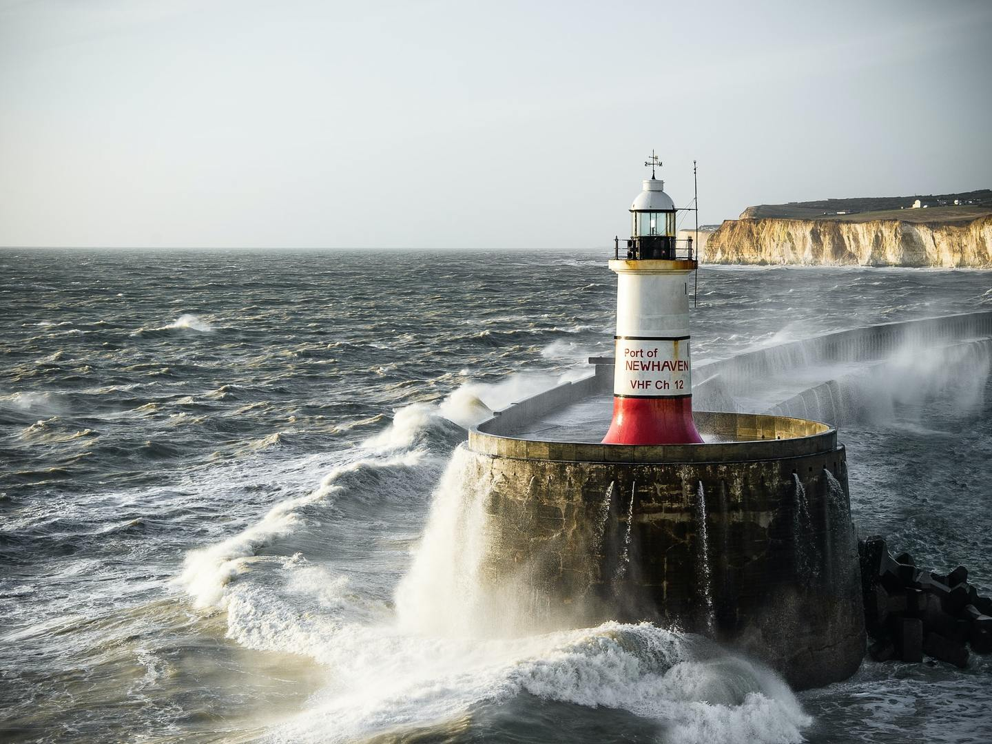 A lighthouse in the port of Newhaven, UK