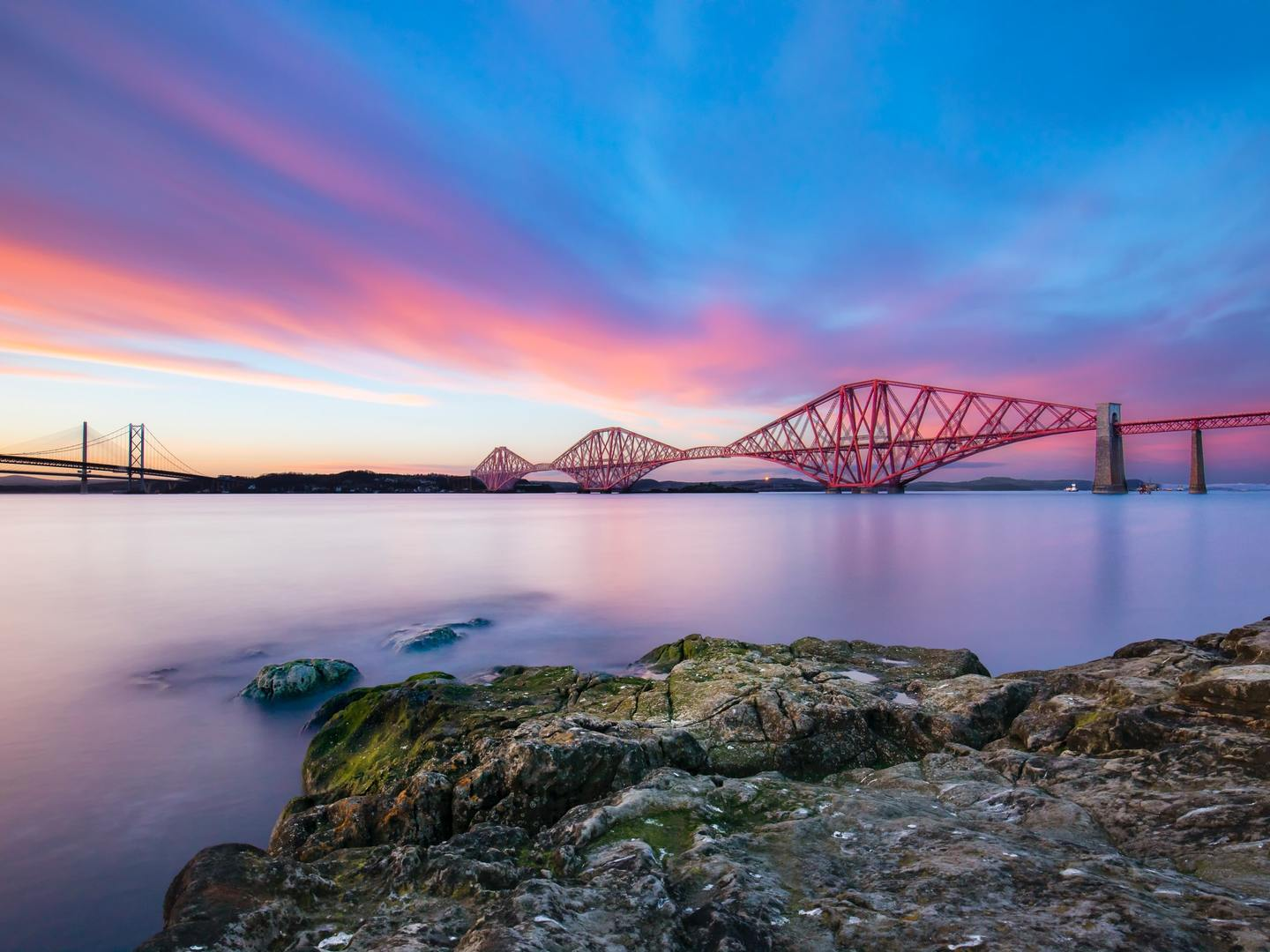 Sunset over the bridge at South Queensferry, UK