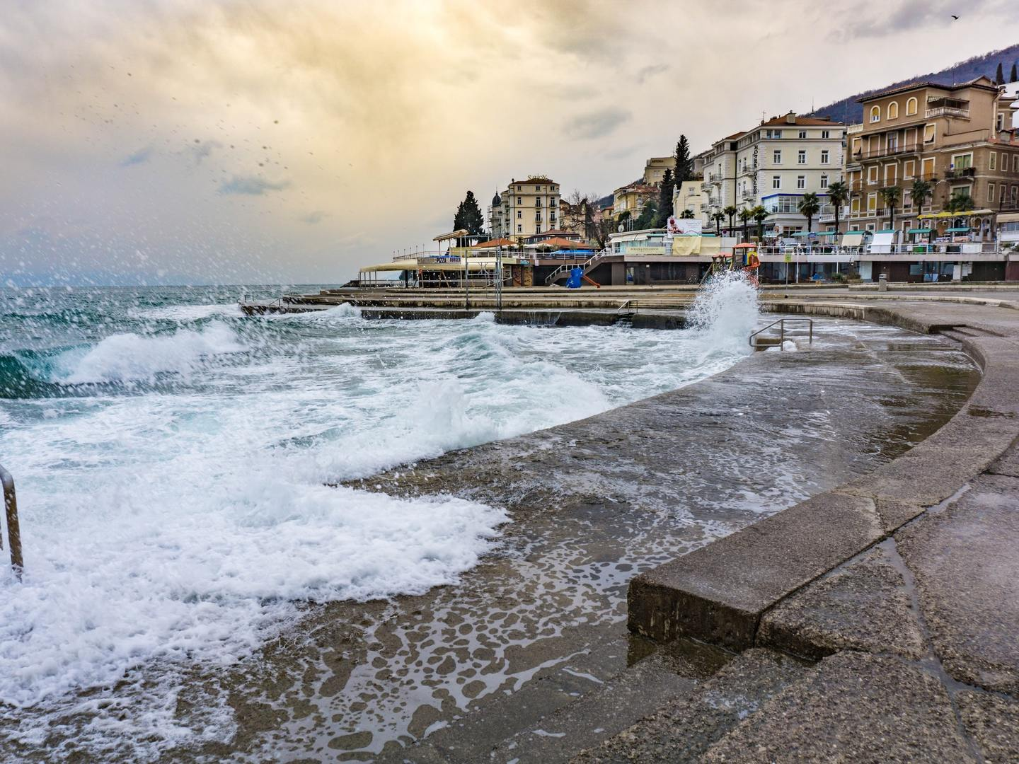 Waves lapping the town of Opatija