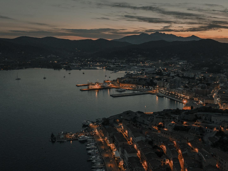 The beautiful town of Portoferraio, Elba Island at sunset