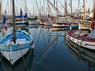 The busy harbour in Sanary-sur-Mer, France