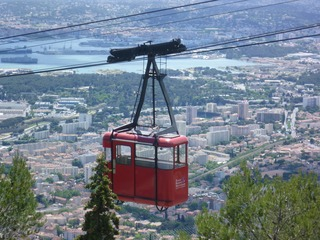 Cable car over the city of Toulon