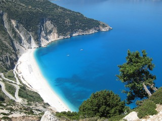 Myrtos Beach, one of the most pictured beaches in the world, on the island of Kefalonia