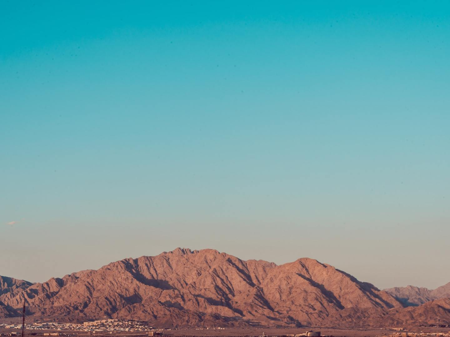 A view of the Edom Mountains in Jordan from Eilat, Israel